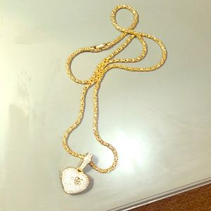 Diamond heart pendant and chain